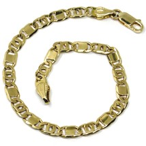 SOLID 18K YELLOW GOLD BRACELET, FLAT TIGER EYE ALTERNATE OVAL LINKS, 7.9 INCHES image 1