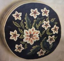 "Vintage Bucilla FLORAL SPRAY Needlepoint Kit 4100 Decorator Round Box Pillow 14"" - $28.98"