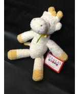 RARE HTF Baby Yellow Giraffe Lovey Rattle Plush Toy Ribbon Douglas Cuddl... - $59.00