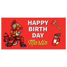 Firefighter Fireman Banner Personalized Birthday Decoration Backdrop - $22.28+