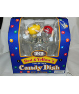 M Ms Red Yellow Plastic Covered Candy Dish Dispenser NIB - $19.99