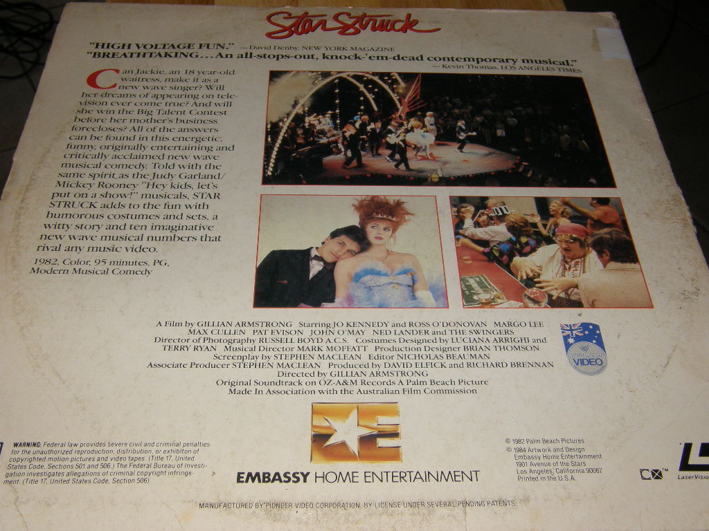 Star Struck Laserdisc Kennedy O'Donovan Musical Used