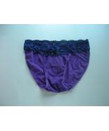 Rene Rofe Purple Sheer Mesh String Bikini with Navy Lace Waistband Size M - $3.99