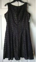 New J. Taylor Women's Sparkle Lace Fit & Flare Party Dress Black Size 10 - $31.21