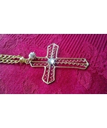 Cross Necklace Elegant Wire Wrapped Gold and Silver with Swarovski Cryst... - $24.99
