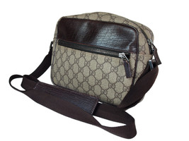 Auth GUCCI GG Web PVC Canvas Leather Browns Cross-Body Shoulder Bag GS2050 - $298.00