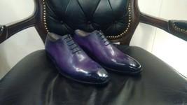Handmade Leather Purple Patina Whole Cut Oxfords for Men Custom men dress shoes - $196.98 - $226.55