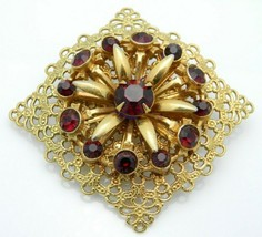 Red Rhinestone Gold Tone Floral Filigree Pin Brooch Vintage - $19.80