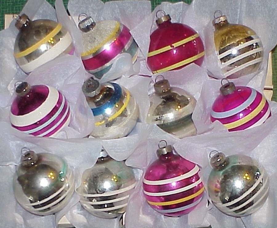 Primary image for 12 Vintage Glass STRIPED Christmas Ornaments Shiny Brite Box - #1