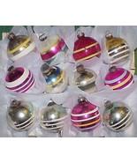 12 Vintage Glass STRIPED Christmas Ornaments Shiny Brite Box - #1 - $40.00