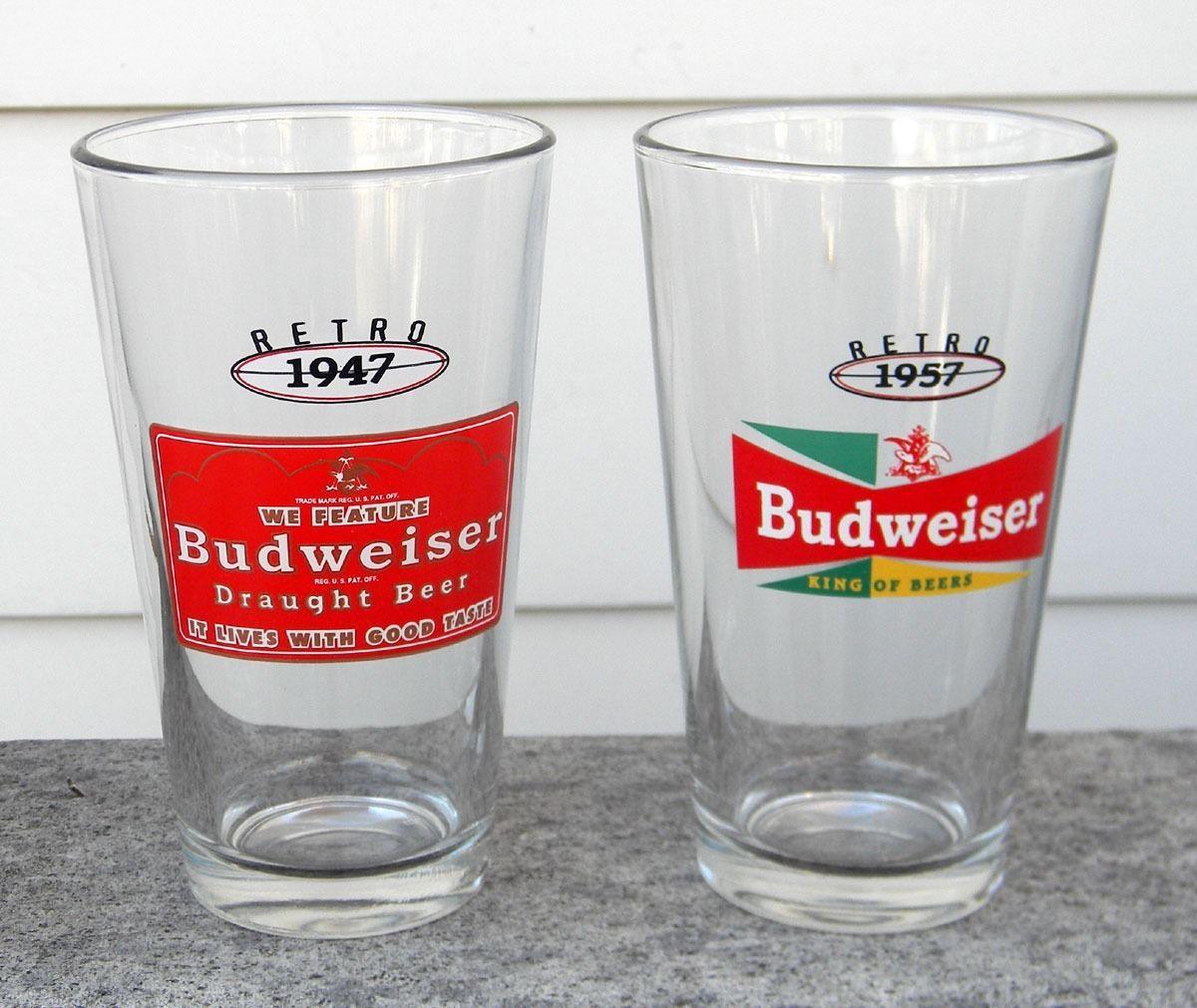 2 NEW BUDWEISER RETRO BEER PINT GLASSES 1947 1957 16 OZ BUD