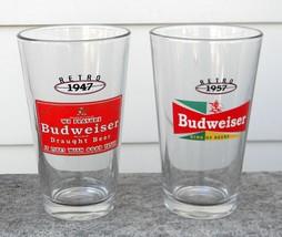 2 NEW BUDWEISER RETRO BEER PINT GLASSES 1947 1957 16 OZ BUD image 1