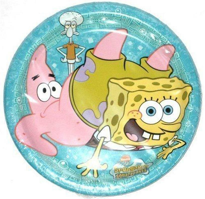 SpongeBob Square Pants Dessert Plates 8 Per Package Birthday Party Supplies