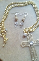 Crystal Cross Necklace Elegant Wire Wrapped Gold and Silver Baptism Jewe... - $24.99