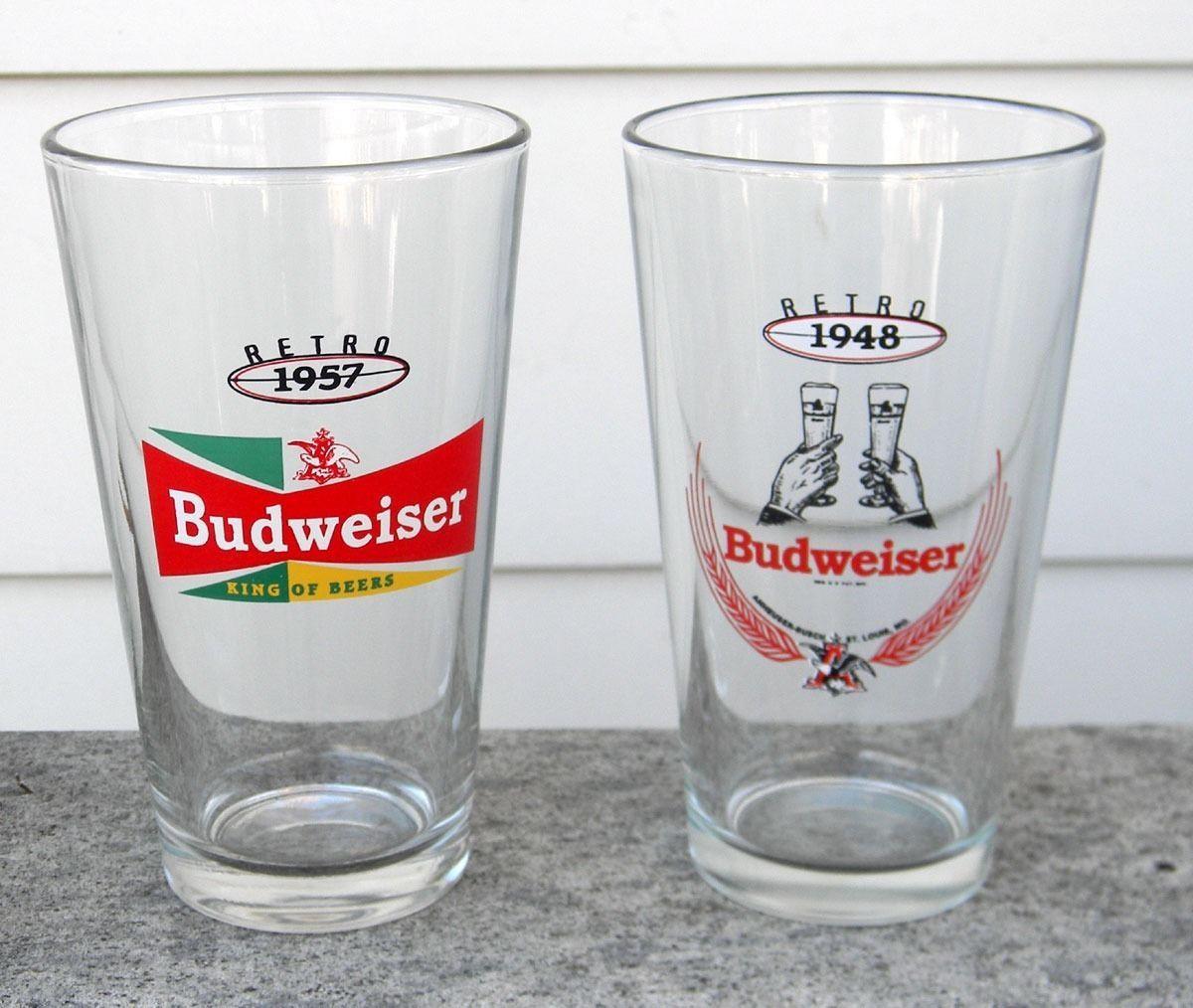 2 NEW BUDWEISER RETRO BEER PINT GLASSES 1948 1957 16 OZ BUD