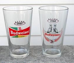 2 NEW BUDWEISER RETRO BEER PINT GLASSES 1948 1957 16 OZ BUD image 1