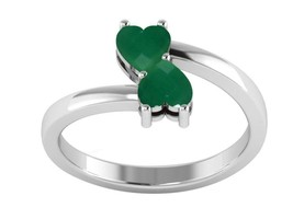 Green Color Vitreous Gemstone 925 Sterling Silver Love Ring For Women/Girls - $18.79
