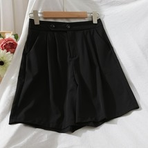 New black casual pleated high waisted women shorts with pockets spring s... - $34.00