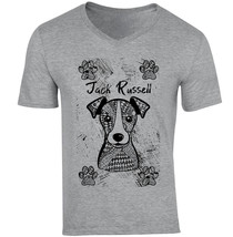 JACK RUSSELL TERRIER - NEW COTTON GREY V-NECK TSHIRT - $25.66