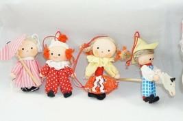 8 Vintage Christmas Ornaments Dolls Traditional Czechoslovakia Fabric & ... - $33.38