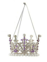 KURT ADLER ROYAL SPLENDOR PURPLE & SILVER CROWN w/GEMS & PEARLS XMAS ORN... - $8.88