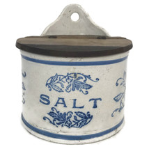 Antique Blue & Gray Stoneware Pottery Round Hanging Salt Box With Wooden... - $60.78