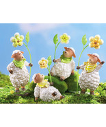Springtime Lambs In Bandana W/floral Shelf Sitters - $19.95