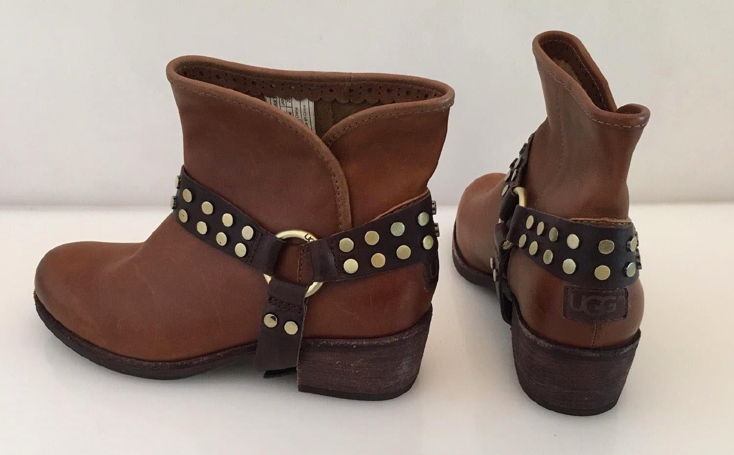 UGG Australia Womens Darling Harness Leather Ankle Boots Whiskey Brown Size 5