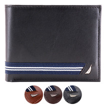 Nautica Men's Genuine Leather Credit Card ID Double Billfold Passcase Wallet image 1