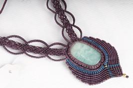 Macrame Necklace Pendant Choker Amazonite Stone Cord Handmade Bohemian h... - $18.00