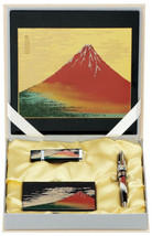 Maki-e Urushi Japanese Stationary set Fuji Mouse pad USB Card case Pen J... - $224.05