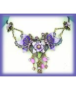 Victorian Purple Pink Floral Necklace Set Darkened Silvertone New - $29.99