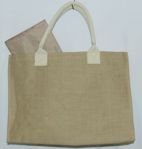 WB M225BURLAP Burlap Tote Bag Reinforced Bottom Color Tan