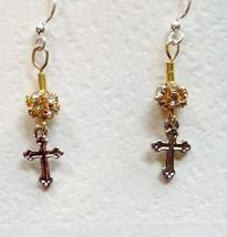 Cross Elegant Gold and Silver with Swarovski Crystals Earrings on Surgic... - $29.99