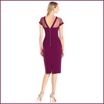Wine Knee Length Sheath Marilyn Style Dress with Transparent Bodice Top image 2