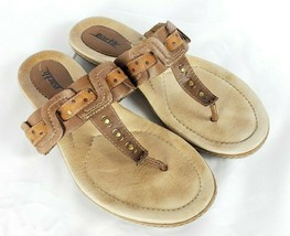 Earth MIST Leather Flip Flops Sandals 8B US 38.5 EU Brown - $29.69