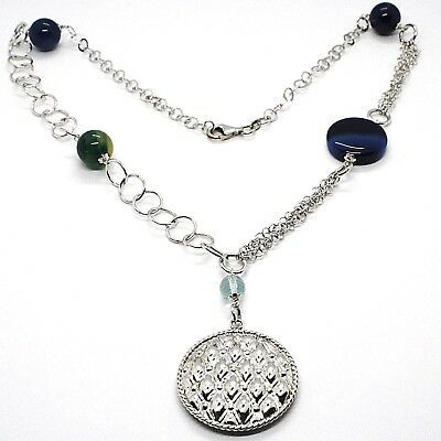 Necklace Silver 925, Agate Blue Banded, With Locket Pendant, 55 CM