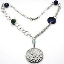 Necklace Silver 925, Agate Blue Banded, With Locket Pendant, 55 CM image 1
