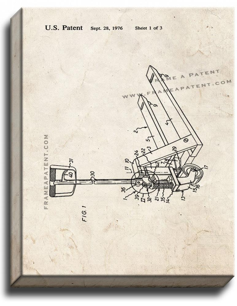 Primary image for Hand-operated Pallet Truck Patent Print Old Look on Canvas