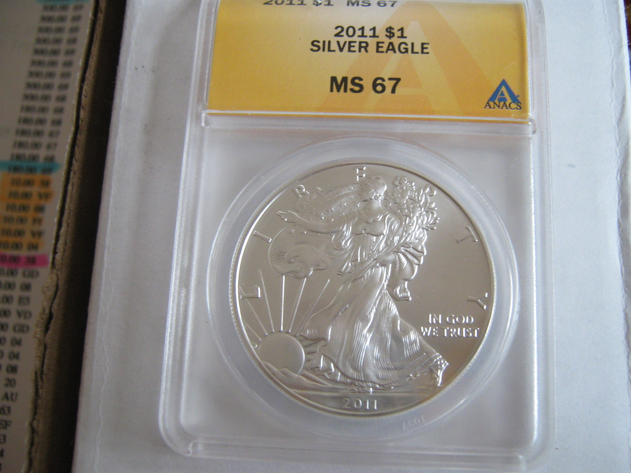 Primary image for Silver American Eagle , 2011 , ANACS MS 67