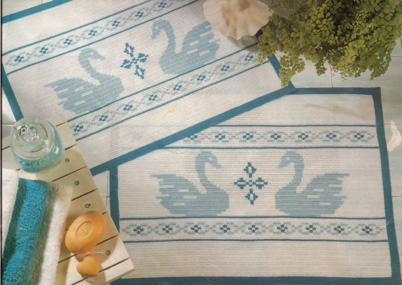 3X Bathroom Swan Mat Long Life Runner Entertainment Tablecloth Crochet Pattern image 3