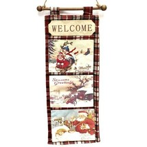 Christmas Wall Hanging Fabric Retro Postcards Red Plaid 19x8 Holiday Winter - $19.99