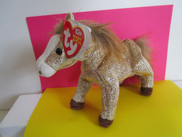 TY Beanie Baby HORSE pony FILLY gold sparkle, long tail & mane - $5.59