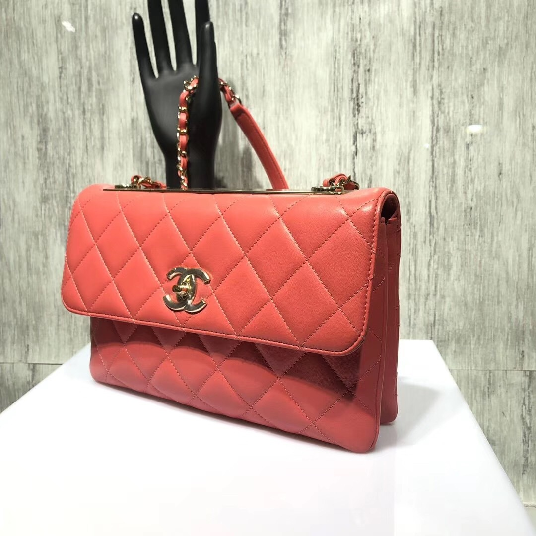 AUTHENTIC CHANEL CORAL RED QUILTED LAMBSKIN TRENDY CC 2 WAY HANDLE FLAP BAG GHW