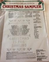 Vintage Bucilla Stamped Cross Stitch Christmas Bears Sharing - $6.93