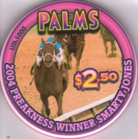 Primary image for 2004  PREAKNESS WINNER SMARTY JONES $2.50 PALMS Las Vegas Chip