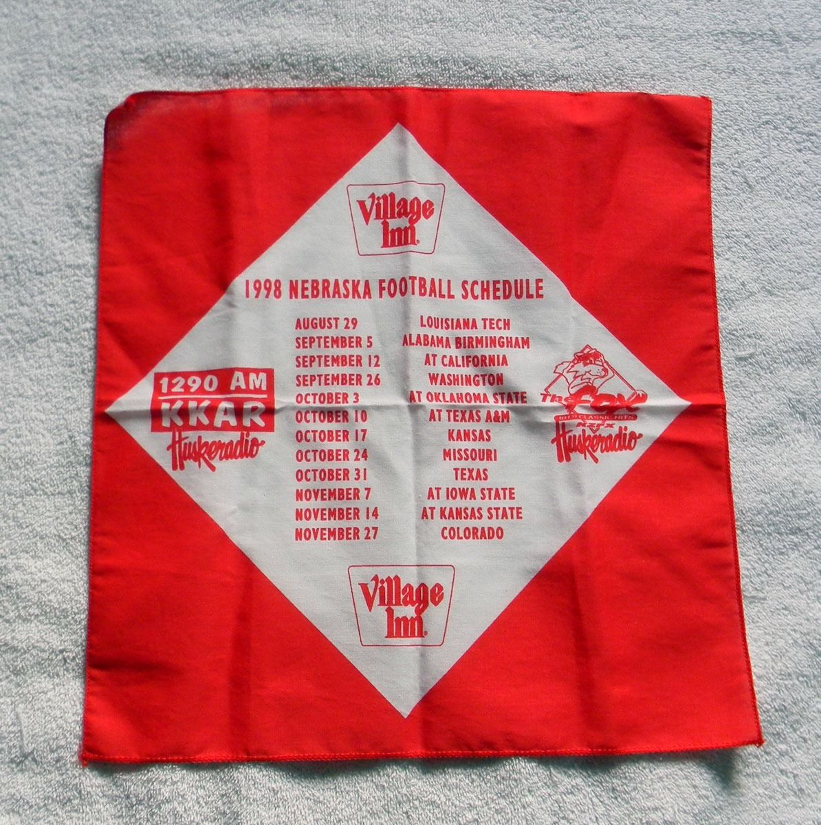 1998 NEBRASKA FOOTBALL SCHEDULE BANDANA HUSKER COTTON RED & WHITE GO BIG RED