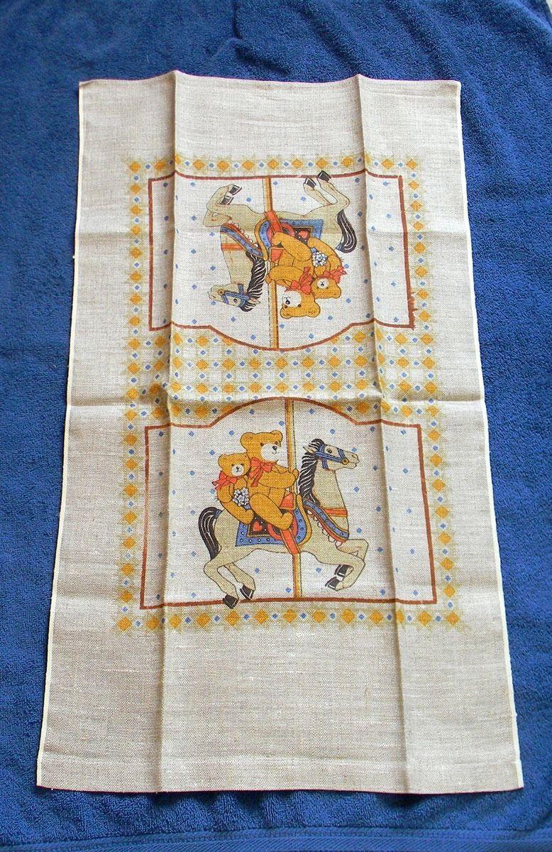 NEW VINTAGE ALL LINEN KITCHEN TOWEL MERRY GO ROUND HORSE CZECHOSLOVAKIA RN 18143