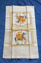NEW VINTAGE ALL LINEN KITCHEN TOWEL MERRY GO ROUND HORSE CZECHOSLOVAKIA RN 18143 image 1