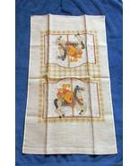 NEW VINTAGE ALL LINEN KITCHEN TOWEL MERRY GO ROUND HORSE CZECHOSLOVAKIA ... - $14.80